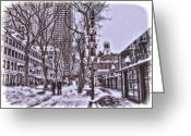 Faneuil Greeting Cards - Quincy Market Holiday Greeting Card by Joann Vitali