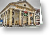 Faneuil Greeting Cards - Quincy Market Snow 2 Greeting Card by Joann Vitali