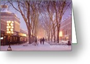 Snow Storm Greeting Cards - Quincy Market Stroll Greeting Card by Susan Cole Kelly