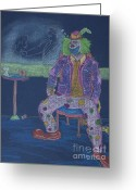 Martini Drawings Greeting Cards - Quit Clowning Around Greeting Card by Michael Mooney