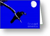 Full Moons Greeting Cards - Quoth The Raven Nevermore . Blue Greeting Card by Wingsdomain Art and Photography