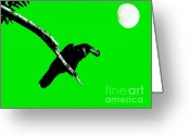 Full Moons Greeting Cards - Quoth The Raven Nevermore . Green Greeting Card by Wingsdomain Art and Photography