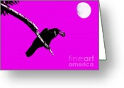 Moons Greeting Cards - Quoth The Raven Nevermore . Magenta Greeting Card by Wingsdomain Art and Photography