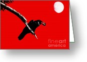 Crow Digital Art Greeting Cards - Quoth The Raven Nevermore . Red Greeting Card by Wingsdomain Art and Photography