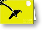 Full Moons Greeting Cards - Quoth The Raven Nevermore . Yellow Greeting Card by Wingsdomain Art and Photography
