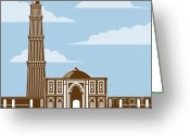 Minaret Greeting Cards - Qutub Minar Greeting Card by Aloysius Patrimonio