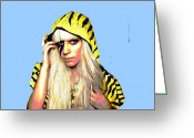 Lady Gaga Greeting Cards - Ra Ra  Greeting Card by Chandler  Douglas