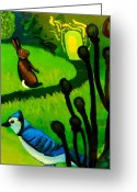 Rabbit Prints Greeting Cards - Rabbit and Blue Jay Greeting Card by Genevieve Esson