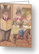 Evening Drawings Greeting Cards - Rabbit Marcus the Great 09 Greeting Card by Kestutis Kasparavicius