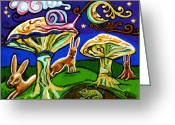Mushrooms Greeting Cards - Rabbits At Night Greeting Card by Genevieve Esson