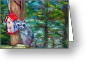 Woods Pastels Greeting Cards - Raccoon Thief Greeting Card by Sandy Hemmer