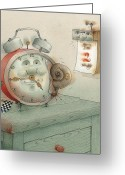 Clock Drawings Greeting Cards - Race Greeting Card by Kestutis Kasparavicius
