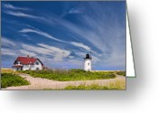 New England Lighthouse Greeting Cards - Race point Light Greeting Card by Bill  Wakeley