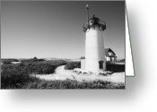 Beach Landscapes Greeting Cards - Race Point Lighthouse black and white photo print Greeting Card by Dapixara Art