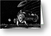Aliens Drawings Greeting Cards - Race To The Moon Greeting Card by Bomonster