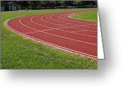 Jogging Greeting Cards - Race track Greeting Card by Isabel Poulin