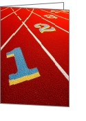 Athletic Greeting Cards - Race Track  Greeting Card by Olivier Le Queinec