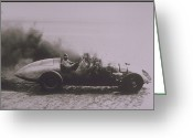 Pandora Greeting Cards - Racer Behind The Wheel Of Pandora Racing Car Greeting Card by Archive Holdings Inc.