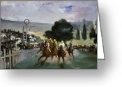 The Start Greeting Cards - Races at Longchamp Greeting Card by Edouard Manet