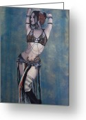 Belly Dance Greeting Cards - Rachel Brice - Belly Dancer Greeting Card by Kelly Jade King