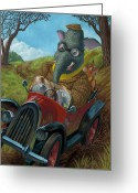 Funny Car Greeting Cards - Racing Car Animals Greeting Card by Martin Davey