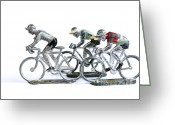 Cyclist Greeting Cards - Racing cyclist Greeting Card by Bernard Jaubert