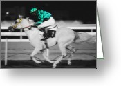 Horserace Greeting Cards - Racing for the post Greeting Card by Paul Cowan
