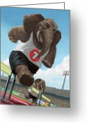 Cartoon Elephant Illustration Greeting Cards - Racing Running Elephants In Athletic Stadium Greeting Card by Martin Davey