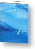 Wind Surfing Art Painting Greeting Cards - Racing Sailboats 6 Greeting Card by Danita Cole