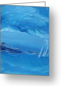 Wind Surfing Art Painting Greeting Cards - Racing Sailboats Greeting Card by Danita Cole