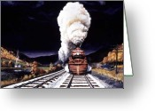 Locomotive Greeting Cards - Racing the Storm Greeting Card by David Mittner
