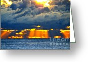 Sun Prints Greeting Cards - Radiant Sun Rise  Greeting Card by Christopher  Ward