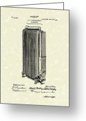 Heater Greeting Cards - Radiator 1907 Patent Art Greeting Card by Prior Art Design