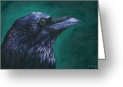 Black Bird Greeting Cards - Radical Raven Greeting Card by Eve McCauley