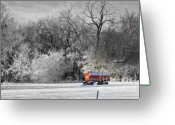 Gray Sky Greeting Cards - Radio Flyer Greeting Card by Julie Lueders