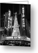 Winter Prints Greeting Cards - Radio Glow Black and White Greeting Card by Meghan Flatley