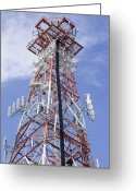 Communications Tower Greeting Cards - Radio Transmitter Mast Greeting Card by Mark Williamson