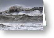 Blizzard Greeting Cards - Raging Black Sea Greeting Card by Evgeni Dinev