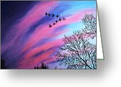Bare Trees Painting Greeting Cards - Raging Sky and Canada Geese Greeting Card by Barbara Griffin