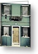 Flower Pots Greeting Cards - rags in Venice Greeting Card by Joana Kruse