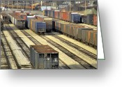 Train Car Greeting Cards - Rail Yard 2 Greeting Card by Scott Hovind