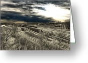 Train Car Greeting Cards - Rail Yard 4 Greeting Card by Scott Hovind