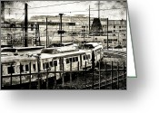 Bill Cannon Greeting Cards - Rail Yard Blues Greeting Card by Bill Cannon