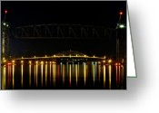 Cape Cod Mass Photo Greeting Cards - Railroad and Bourne Bridge at Night Cape Cod Greeting Card by Matt Suess