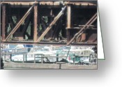 Merrimac Greeting Cards - Railroad Bridge and boats on the Merrimac River Greeting Card by Barbara Milhender