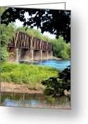 Pennsylvania Pyrography Greeting Cards - Railroad Bridge Greeting Card by Penny Johnson