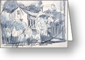 Workers Drawings Greeting Cards - Railroad House Greeting Card by Bill Joseph  Markowski