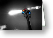 Crossroads Greeting Cards - Railroad Signal Greeting Card by Bob Orsillo