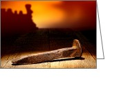 Engine Greeting Cards - Railroad Spike Greeting Card by Olivier Le Queinec