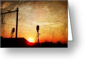 Ym_art Greeting Cards - Railroad Sunset Greeting Card by Yvon -aka- Yanieck  Mariani